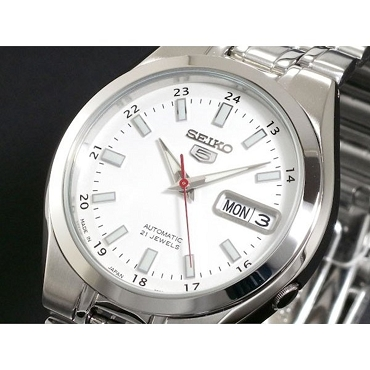 Seiko 5 SNKG17J1 Automatic 21 Jewels White Dial Stainless Steel Men's Watch - Made in Japan