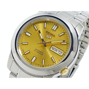 Seiko 5 SNKK13J1 Automatic 21 Jewels Gold Dial Stainless Steel Men's Watch - Made in Japan