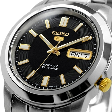 Seiko 5 SNKK17K1 SNKK17 Automatic 21 Jewels Black Dial Stainless Steel Men's Watch