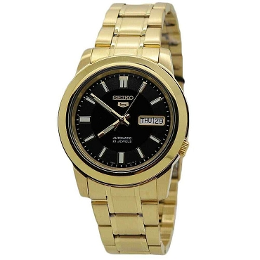 Seiko 5 SNKK22K1 SNKK22 Automatic 21 Jewels Black Dial Gold Case Stainless Steel Men's Watch