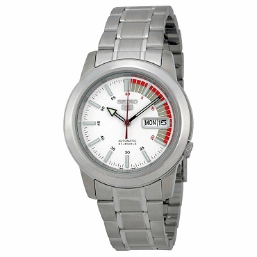 Seiko 5 SNKK25K1 SNKK25 Automatic 21 Jewels White Dial Stainless Steel Men's Watch