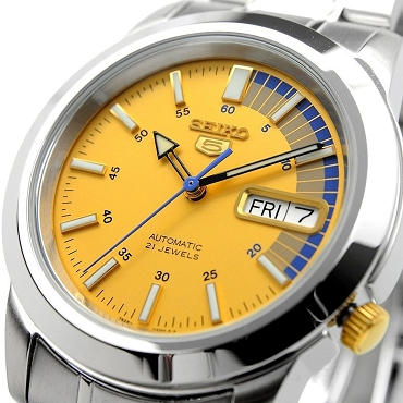 Seiko 5 SNKK29K1 SNKK29 Automatic 21 Jewels Yellow Dial Stainless Steel Men's Watch