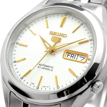 Seiko 5 SNKL17K1 SNKL17 Automatic 21 Jewels White Dial Gold Hand Stainless Steel Men's Watch