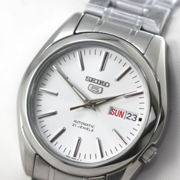 Seiko 5 SNKL41 SNKL41K1 21 Jewels Automatic White Dial Stainless Steel Men's Watch