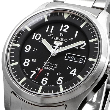 Seiko 5 SNZG13 SNZG13J1 Army Automatic Black Dial Stainless Steel Men's Watch MADE IN JAPAN