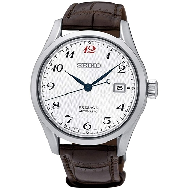 Seiko Presage SPB067J1 23 Jewels Automatic White Pattern Dial Brown Crocodile Leather Strap Men's Watch - Made in Japan