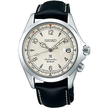 Seiko Prospex SPB119J1 Alpinist 24 Jewels Cream Beige White Dial Black Leather Strap Men's Watch - Made in Japan
