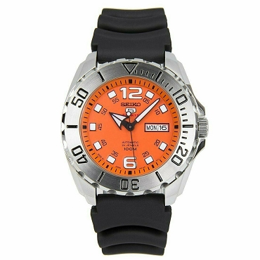 Seiko 5 SRPB39J1 Baby Monster 24 Jewels Automatic Orange Dial Black Rubber Strap 100M Men's Watch - Made in Japan