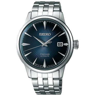 "Seiko Presage SRPB41J1 Cocktail Time 23 Jewels Automatic ""BLUE MOON"" Blue Dial Stainless Steel Men's Watch - Made in Japan"