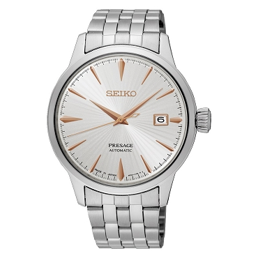 "Seiko Presage SRPB47J1 Cocktail Time 23 Jewels Automatic ""GOLDEN CADILLAC"" Silver Textured Dial Men's Watch - Made in Japan"