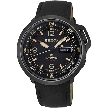 Seiko Prospex SRPD35K1 24 Jewels Automatic Land Series Black IP Leather Strap Men's Watch INTERNATIONAL WARRANTY