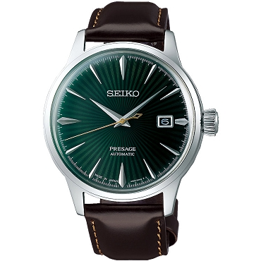 "Seiko Presage SRPD37J1 Cocktail Time 23 Jewels Automatic ""MOCKINGBIRD"" Green Dial Brown Leather Strap Men's Watch - Made in Japan"