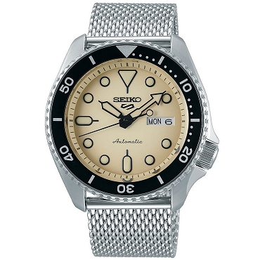 Seiko 5 Sports SRPD67K1 24 Jewels Automatic Ivory Dial Silver Steel Mesh Strap Men's Watch