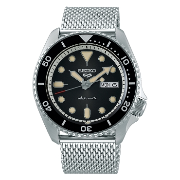 Seiko 5 Sports SRPD73K1 24 Jewels Automatic Black Dial Silver Steel Mesh Strap Men's Watch