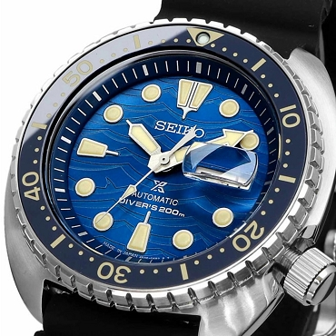 Seiko Prospex King Turtle SRPE07J1 24 Jewels Automatic Blue Dial Black Silicone Strap Limited Men's Diver Watch - Made in Japan