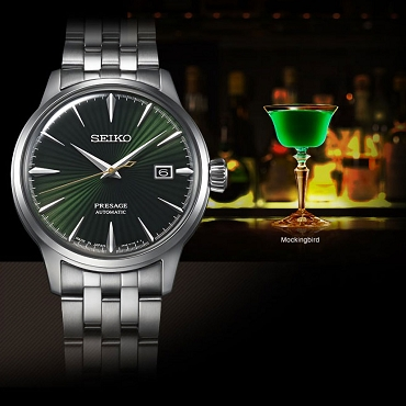 Seiko Presage SRPE15J1 Cocktail Time 23 Jewels Automatic Mockingbird Green Dial Stainless Steel Men's Watch - Made in Japan