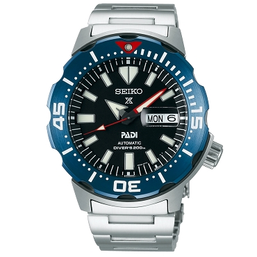 Seiko Prospex SRPE27K1 Monster PADI 24 Jewels Automatic Diver Scuba Black Dial Stainless Steel Strap Men's Watch INT'L WARRANTY