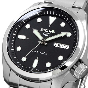Seiko 5 Sports SRPE55K1 24 Jewels Automatic 40mm Black Dial Stainless Steel Men's Watch