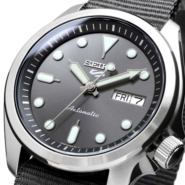 Seiko 5 Sports SRPE61K1 24 Jewels Automatic 40mm Gray Dial Nylon Strap Men's Watch