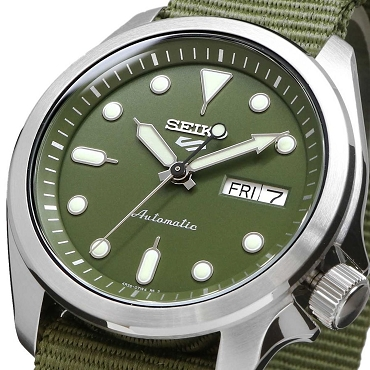 Seiko 5 Sports SRPE65K1 24 Jewels Automatic 40mm Green Dial Nylon Strap Men's Watch