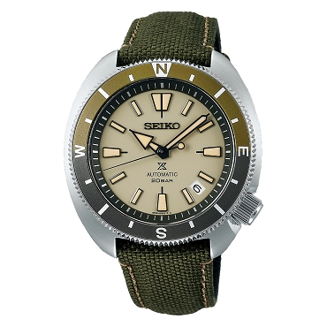 Seiko Prospex Tortoise Land SRPG13K1 23 Jewels Automatic Beige Dial Green Textile Strap 200M Men's Watch
