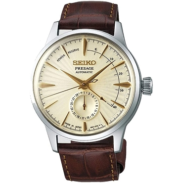 Seiko Presage SSA387J1 Cocktail Time 29 Jewels Automatic Gimlet Gold Champagne Dial Brown Leather Strap JAPAN MADE Men's Watch INT'L WARRANTY