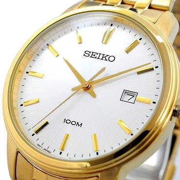 Seiko SUR264P1 Neo Classic Silver Dial Gold Tone Stainless Steel 100M Quartz Men's Watch