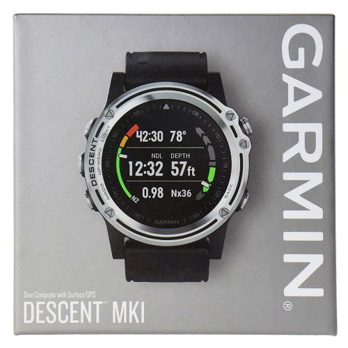 Garmin Descent Mk1 Dive Computer with Surface GPS Multisport Features and Mapping Watch - Silver with Black Band