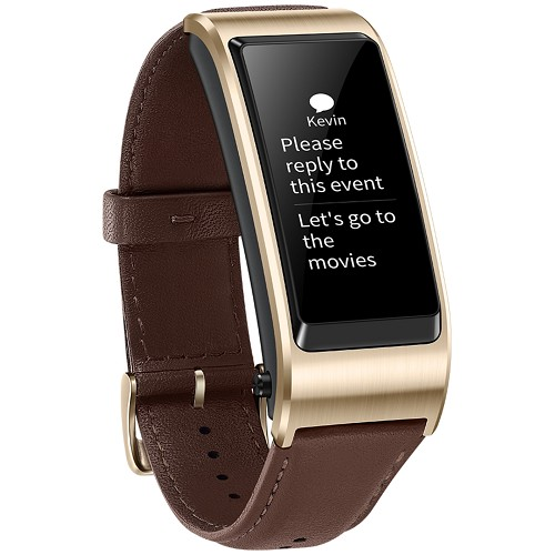 Huawei Talkband B5 Smart Band AMOLED Touch Screen Business Edition Leather Strap Mocha Brown JNS-BX9