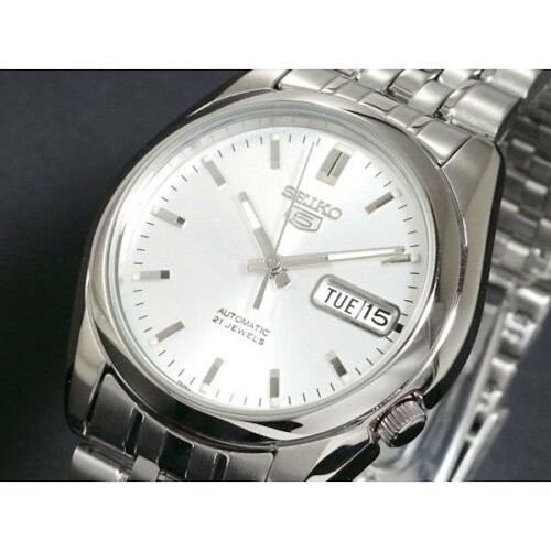 Seiko 5 SNK355 SNK355K1 Automatic 21 Jewels Silver Dial Stainless Steel Men's Watch