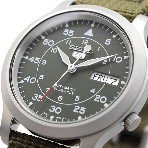 Seiko 5 SNK805 SNK805K2 Military Style Automatic 21 Jewels Green Band Men's Watch