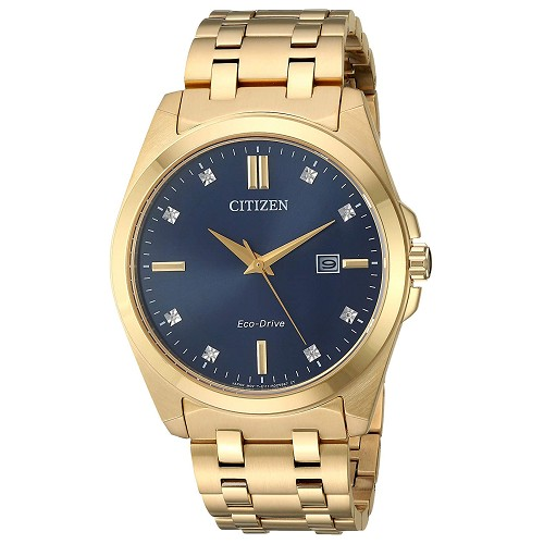 Citizen BM7103-51L Eco-Drive Corso Dark Blue Dial Gold-Tone Stainless Steel Diamond Men's Watch