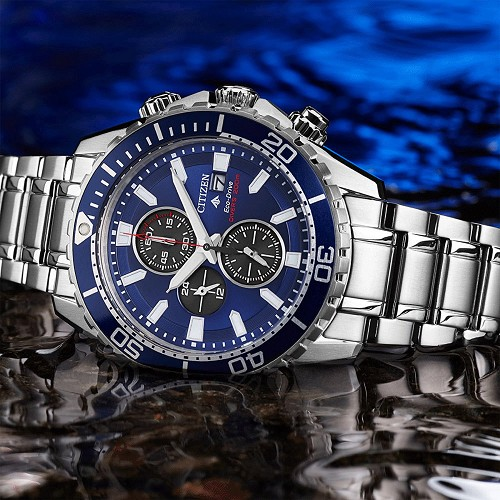 Citizen Promaster Marine CA0710-82L Eco-Drive Chronograph Blue Dial Stainless Steel Men's Diver Watch