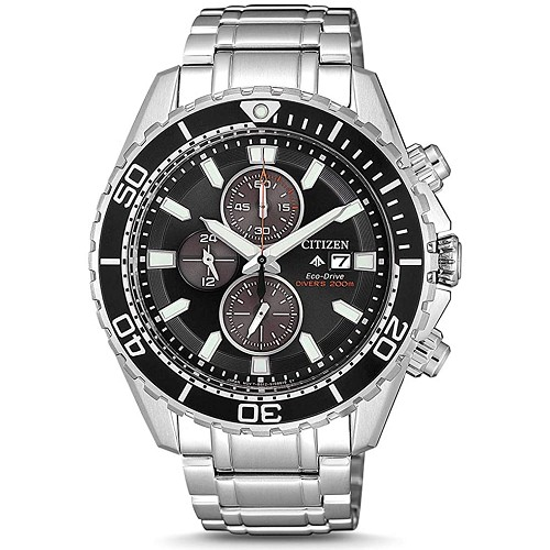 Citizen Promaster Marine CA0711-80H Eco-Drive Chronograph Black Dial Stainless Steel Men's Diver Watch