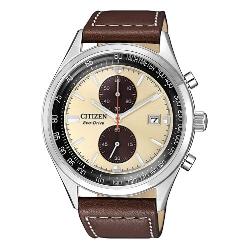 Citizen Eco-Drive CA7020-07A Brycen Chronograph Beige Dial Brown Leather Strap Men's Watch