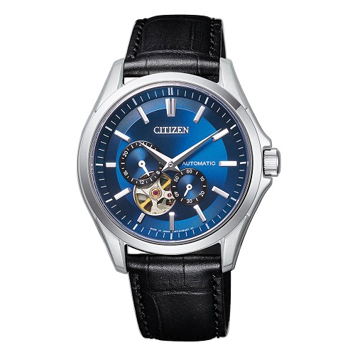 Citizen Mechanical NP1010-01L Open Heart Automatic Blue Dial Black Leather Strap Men's Watch - Made in Japan