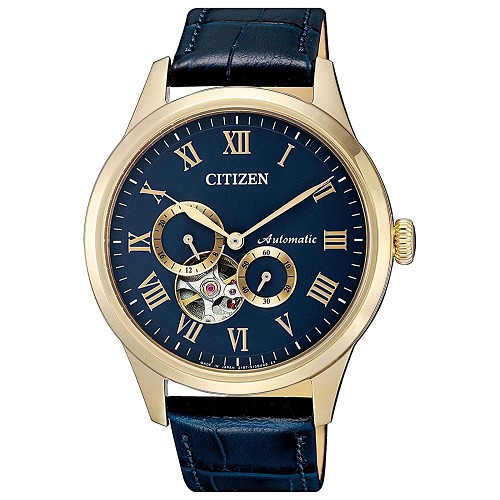 Citizen Mechanical NP1023-17L Open Heart Automatic Blue Dial Rose Gold Plating Stainless Steel Blue Leather Strap Men's Watch - Made in Japan