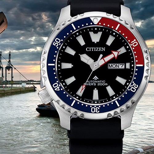 Citizen Promaster NY0110-13E Automatic Fugo Left Crown Black Dial Navy Red Bezel Limited Edition Men's Watch