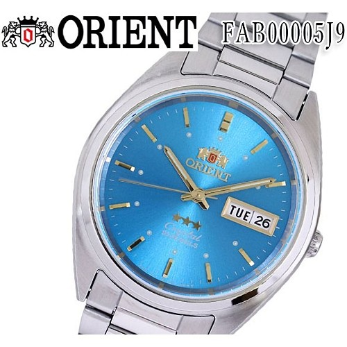 Orient FAB00005J9 Tri Star 3 Star 21 Jewels Light Blue Dial Stainless Steel Men's Watch