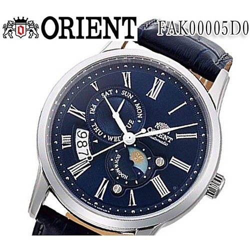 Orient FAK00005D0 Sun & Moon V3 22 Jewels Automatic Blue Dial Stainless Steel & Leather Band Men's Watch