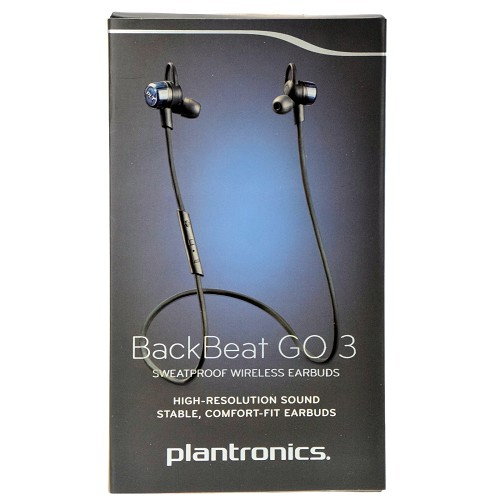 Plantronics BackBeat GO 3 Sweatproof Bluetooth Wireless Stereo Stable Comfort-fit Headset Earbuds - Cobalt Black