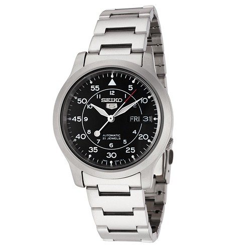 Seiko 5 SNK809 SNK809K1 Automatic 21 Jewels Black Dial Analog Stainless Steel Men's Watch