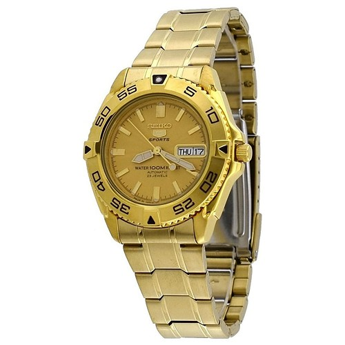 Seiko 5 SNZB26J1 SNZB26 Automatic 23 Jewels Gold Dial Stainless Steel Men's Watch - Made In Japan
