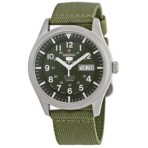 Seiko 5 SNZG09 SNZG09J1 Army Style Automatic 23 Jewels Stainless Steel Men's Watch Green Nylon Band