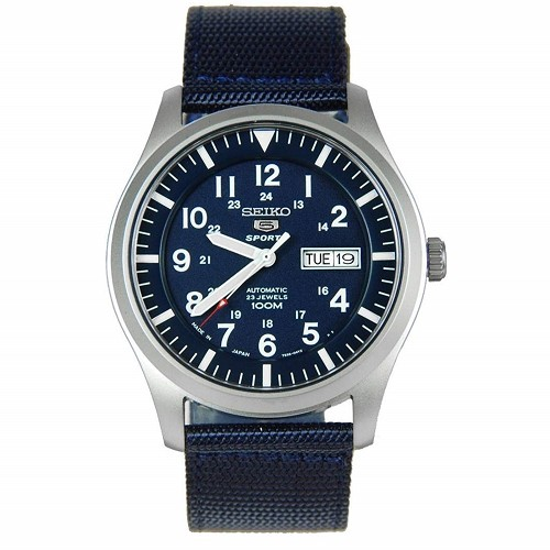 Seiko 5 SNZG11 SNZG11J1 Army Style Automatic 23 Jewels Stainless Steel Men's Watch Blue Nylon Band