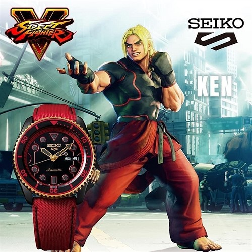Seiko 5 Sports SRPF20K1 Street Fighter V KEN Rush n Blaze Black Dial Automatic Men's Watch Limited 9999 pcs Worldwide