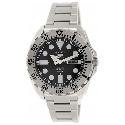Seiko 5 SRP599 SRP599J1 Automatic 24 Jewels Black Dial Stainless Steel 100m Water Resistance Men's Watch