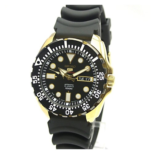 Seiko 5 SRP608J1 Automatic 24 Jewels Black Dial Gold Tone Stainless Steel Rubber Band Men's Watch