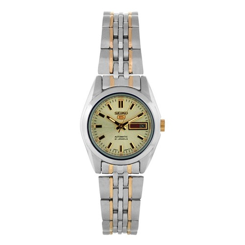 Seiko 5 SYMA37 SYMA37K1 Automatic 21 Jewels Gold Dial Two Tone Stainless Steel Ladies Watch