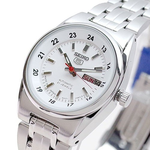 Seiko 5 SYMB93 SYMB93J1 Automatic 21 Jewels 26 mm White Dial Stainless Steel Women's Watch - Made in Japan